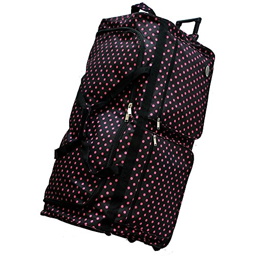 "0766544817640 - ""E-Z ROLL"" 36"" POLKA DOTS ROLLING DUFFEL BAG WITH 3 COLORS (BLACK/PINK)"