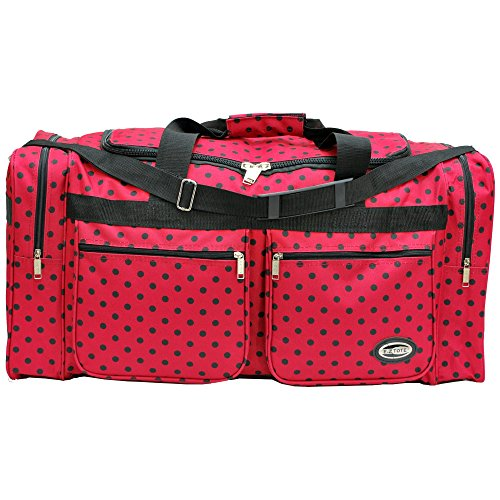 "0766544818197 - ""E-Z TOTE"" POLKA DOTS DUFFLE BAG/GYM BAG/TRAVEL BAG SIZE 30"" WITH 4 COLORS (RED/BLACK DOTS)"