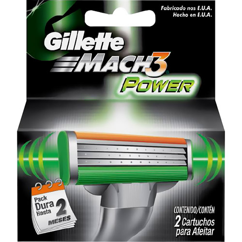 7702018884155 - CARTUCHO GILLETTE MACH 3 POWER - 2 UNIDADES