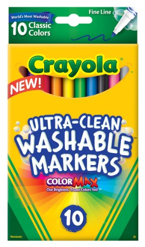 0077345978998 - CRAYOLA 10 CT ULTRA-CLEAN FINE LINE WASHABLE MARKERS, COLOR MAX