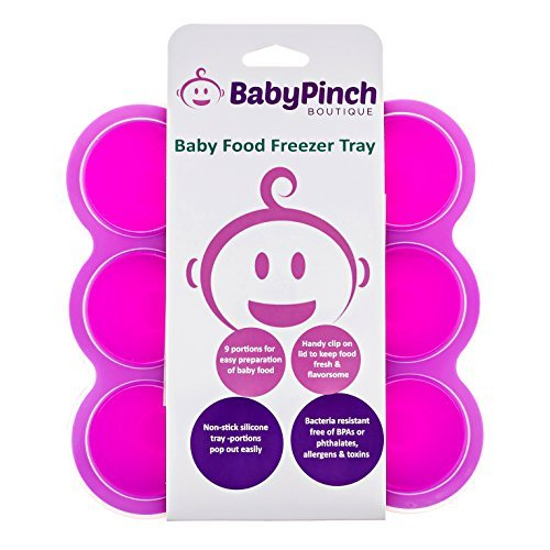 7797478194883 - BABY PINCH BOUTIQUE SILICONE FREEZER TRAY WITH CLIP-ON LID FOR BABY FOOD STORAGE (FUCHSIA) COLOR: PURPLE, MODEL: SFST-1