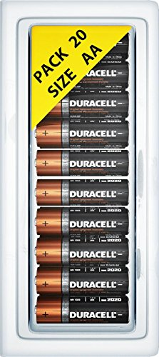 0781772921334 - 20 PACK OF DURACELL AA ALKALINE MN1500 DURALOCK BATTERIES + FREE PLASTIC STORAGE BATTERY CLAMSHELL BLISTER CASE