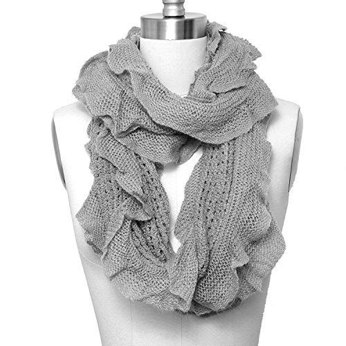 0783956485694 - HUE21 WOMEN'S LACED DESTROYED ETERNITY SOLID SCARF GREY COLOR