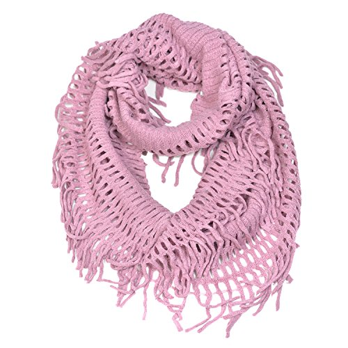 0783956485779 - HUE21 WOMEN'S FRINGE KNITTED CROCHET CUTOUT INFINITY SCARF PINK COLOR