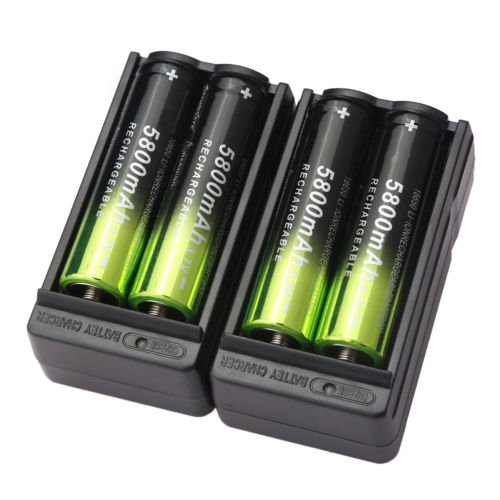 0784316507162 - 4X SKYWOLFEYE 5800MAH 18650 BATTERY 3.7V RECHARGEABLE LI-ION+ 2X SMART CHARGER