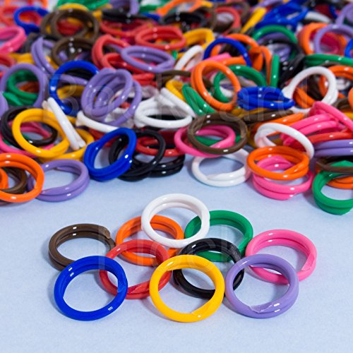 0784316512395 - 100 PACK SPIRAL CHICKEN POULTRY LEG BANDS RINGS - #11 11/16 SIZE - MIXED COLORS