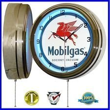 "0785577275982 - MOBIL GAS MOBILGAS OIL 15"" NEON WALL CLOCK ADVERTISING GARAGE SIGN ONE 1 BY MOBIL"