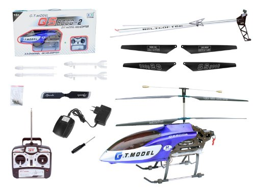 0785983741675 - 53 INCH EXTRA LARGE GT QS8006 2 SPEED 3.5 CH RC HELICOPTER BUILTIN GYRO BLUE