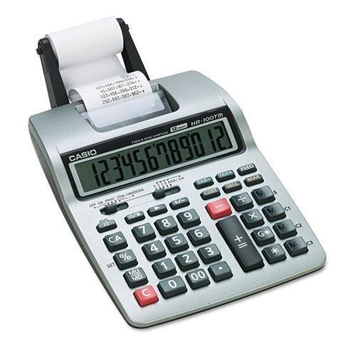 0787766322545 - CASIO HR100TM HR-100TM TWO-COLOR PORTABLE PRINTING CALCULATOR, BLACK/RED PRINT, 2 LINES/SEC BY CASIO