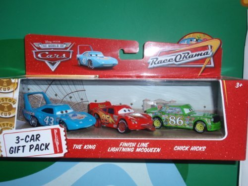 0787799265833 - DISNEY / PIXAR CARS MOVIE 1:55 DIE CAST CAR RACE-O-RAMA 3-CAR GIFT PACK THE KING, FINISH LINE LIGHTNING MCQUEEN AND CHICK HICKS BY DISNEY