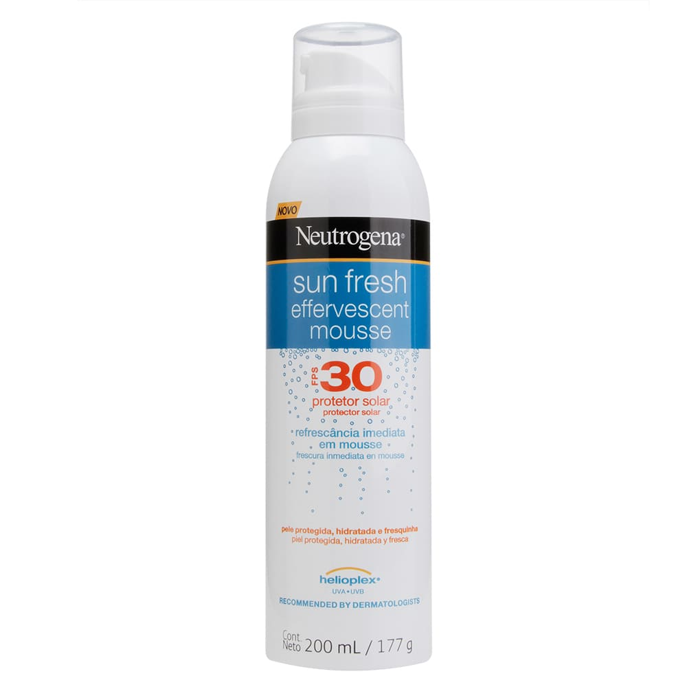 7891010669744 - PROTETOR SOLAR FPS 30 NEUTROGENA SUN FRESH EFFERVESCENT MOUSSE FRASCO 200ML