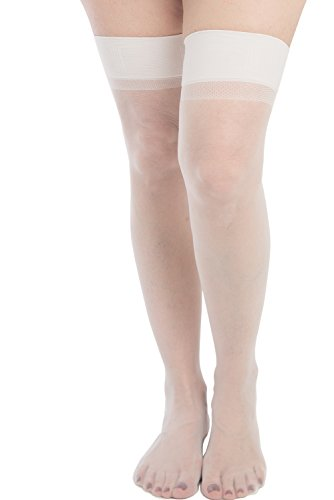 7891186159407 - LUPO WOMEN'S TRADITIONAL SHEER THIGH HIGH STOCKINGS, ANTARCTIC WHITE ONE-SIZE