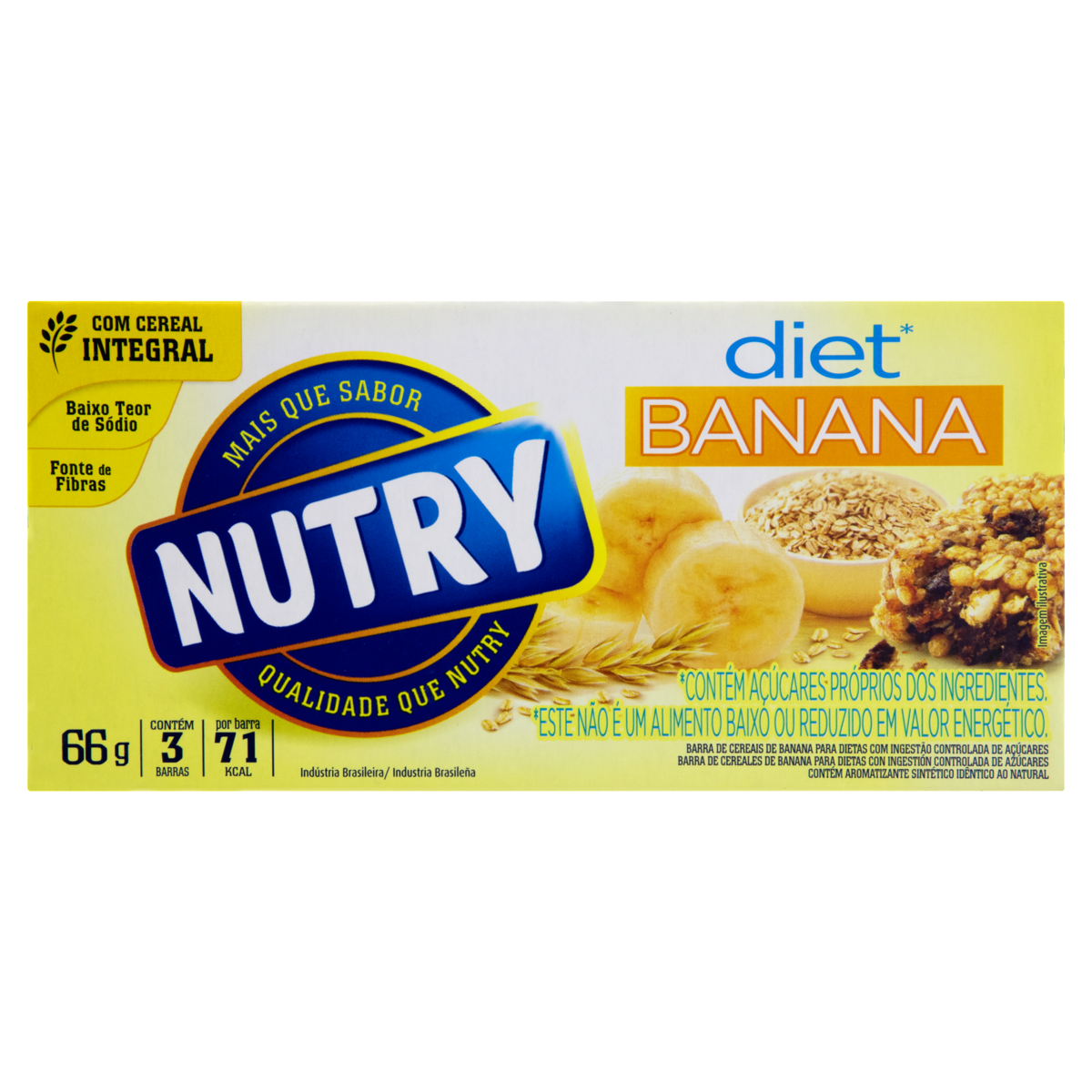 7891331008833 - BARRA DE CEREAIS BANANA DIET NUTRY 66G