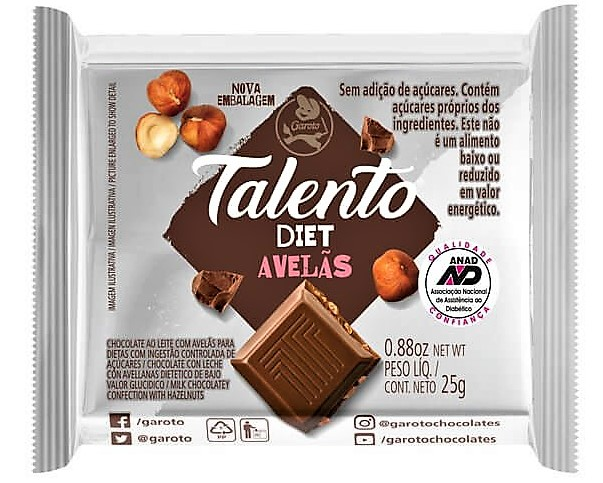 0000078917125 - CHOCOLATE GAROTO TALENTO DIET AVELA