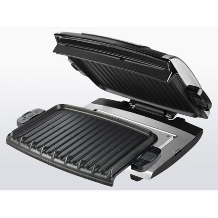 0789185835187 - GEORGE FOREMAN NONSTICK REMOVABLE PLATE DIGITAL ELECTRIC GRILL WITH 2 TRAYS AND SPATULA