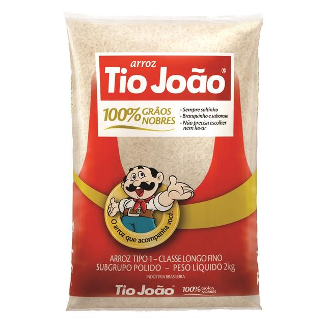 7893500020134 - ARROZ TIO JOÃO 100% GRÃOS NOBRES TIPO 1 CLASSE LONGO FINO 2KG