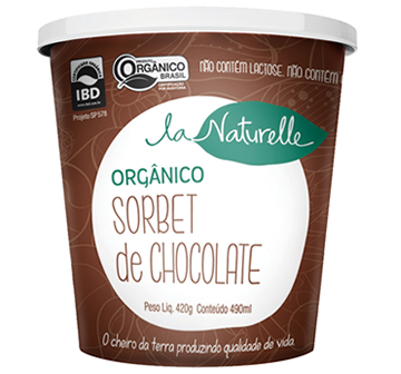 7894394000639 - SORBET ORGÂNICO CHOCOLATE LA NATURELLE POTE 500ML