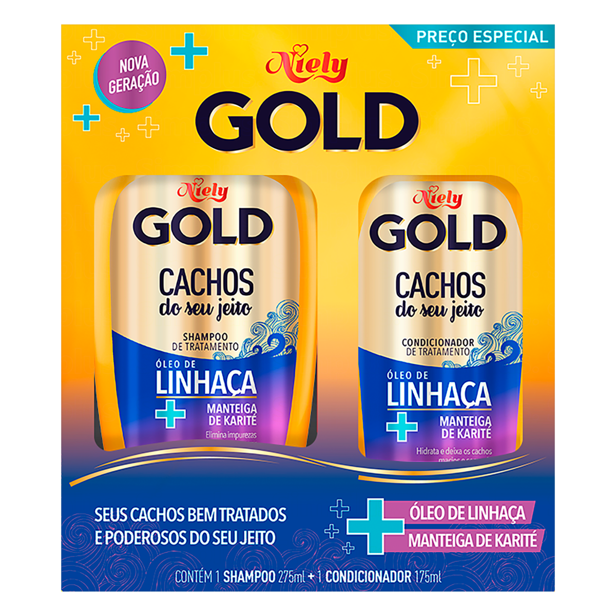 7896000724595 - KIT SHAMPOO 300ML + CONDICIONADOR 200ML CACHOS NIELY GOLD