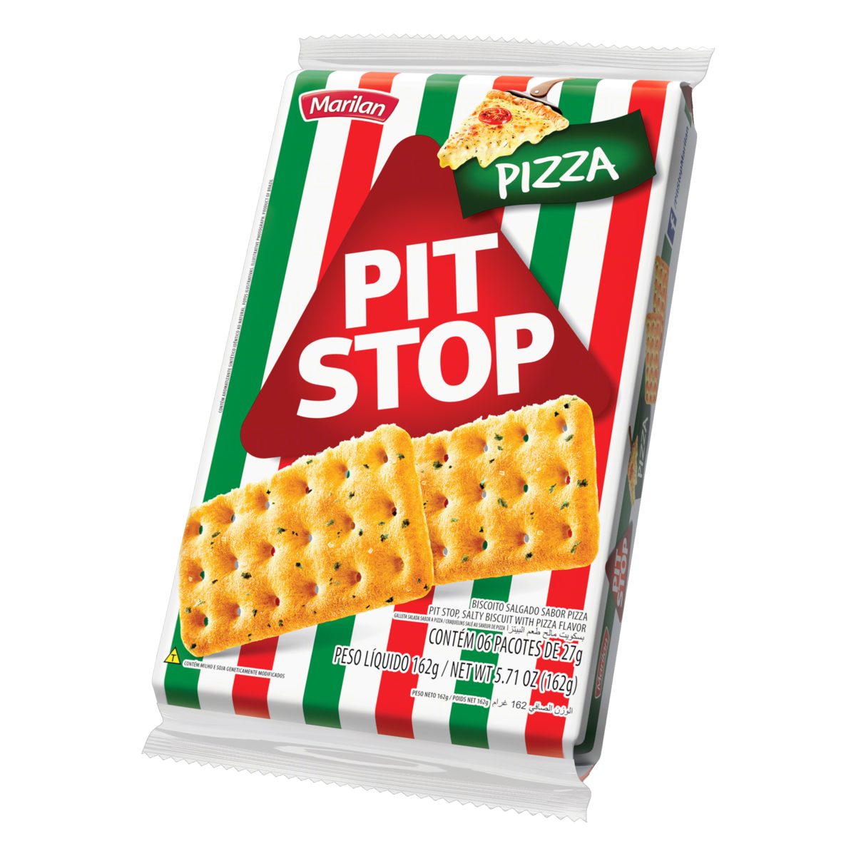 7896003702880 - PACK BISCOITO PIZZA MARILAN PIT STOP PACOTE 162G 6 UNIDADES