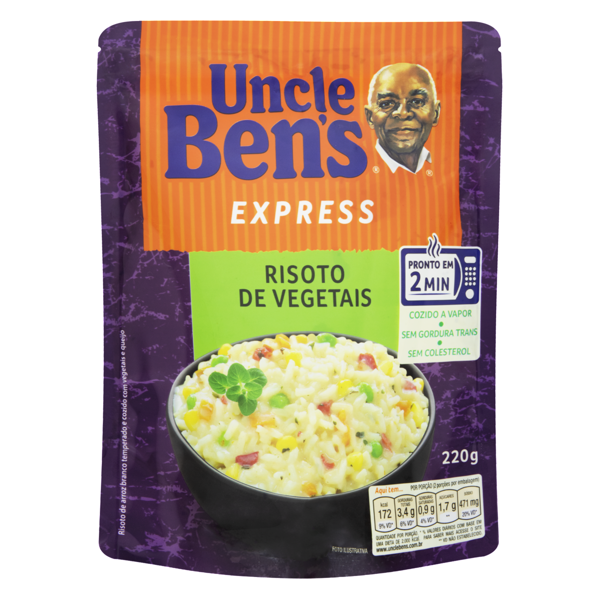 7896003904758 - RISOTO VEGETAIS UNCLE BENS EXPRESS SACHÊ 220G