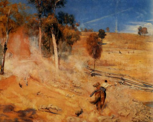 7896006104162 - A BREAK AWAY THIRSTY SHEEP AUSTRALIA BY TOM ROBERTS PRINT REPRODUCTION ON PAPER