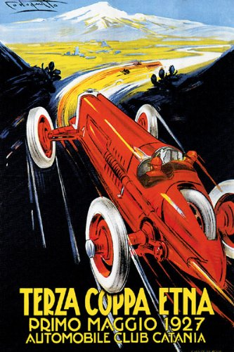 7896006160267 - 1927 TERZA COPPA ETNA AUTO ROAD RALLY CAR RACING VOLCANO ITALY LARGE VINTAGE POSTER REPRO