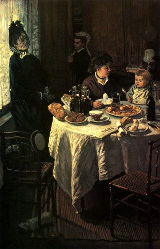 7896006214915 - THE LUNCHEON 1868 LUNCH MOTHER BABY AT THE TABLE ARTIST'S WIFE SON BY CLAUDE MONET 14 X 24 IMAGE SIZE REPRO ON CANVAS