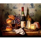 7896006240181 - A FINE MEAL WINE GRAPE BREAD CHEESE BY RAYMOND CAMPBELL ON CANVAS REPRO