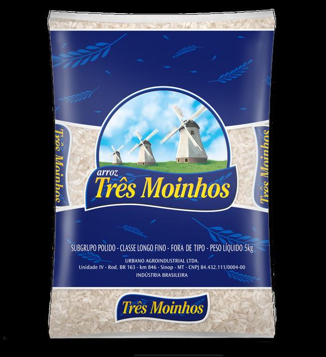 7896038337033 - ARROZ TRÊS MOINHOS BENEFICIADO BRANCO LONGO FINO - TIPO FORA DE TIPO - 5KG