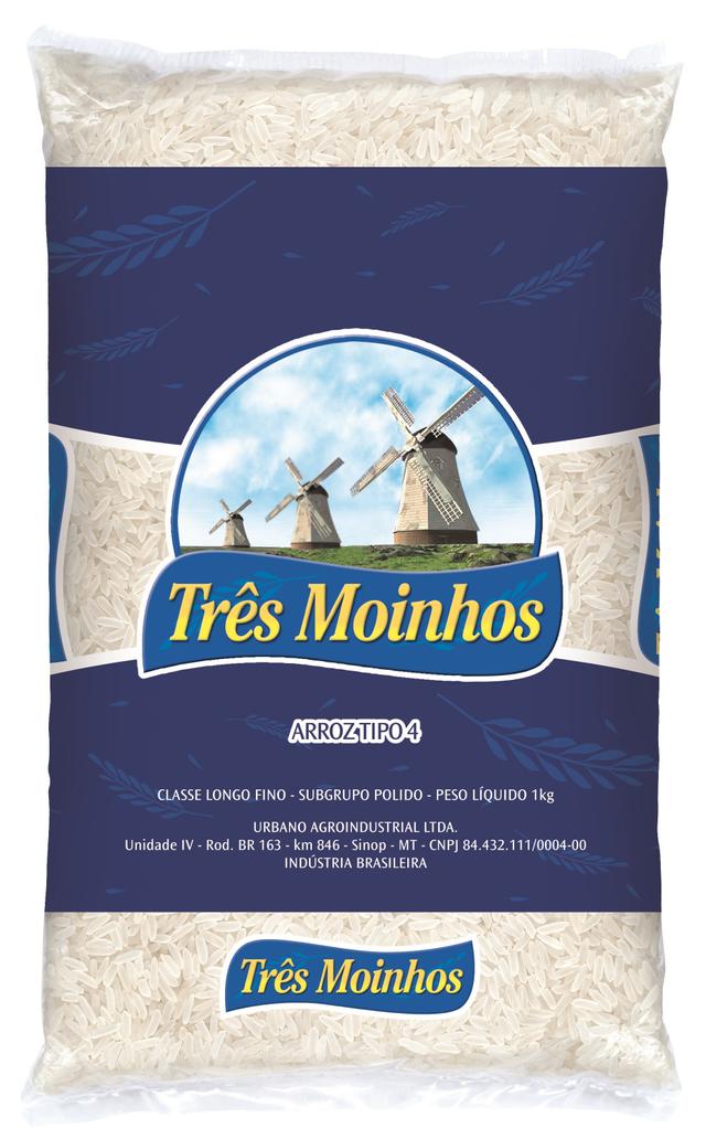7896038337057 - ARROZ TRÊS MOINHOS BENEFICIADO BRANCO LONGO FINO - TIPO FORA DE TIPO - 1KG