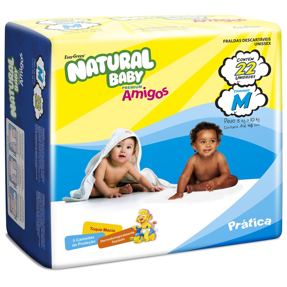 7896064470551 - FRALDA DESCARTAVEL NATURAL BABY 22 UNIDADES EVER GREEN