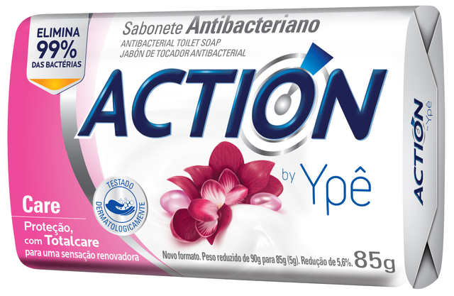 7896098909669 - SABONETE ACTION BY YPÊ CARE ROSA 85G