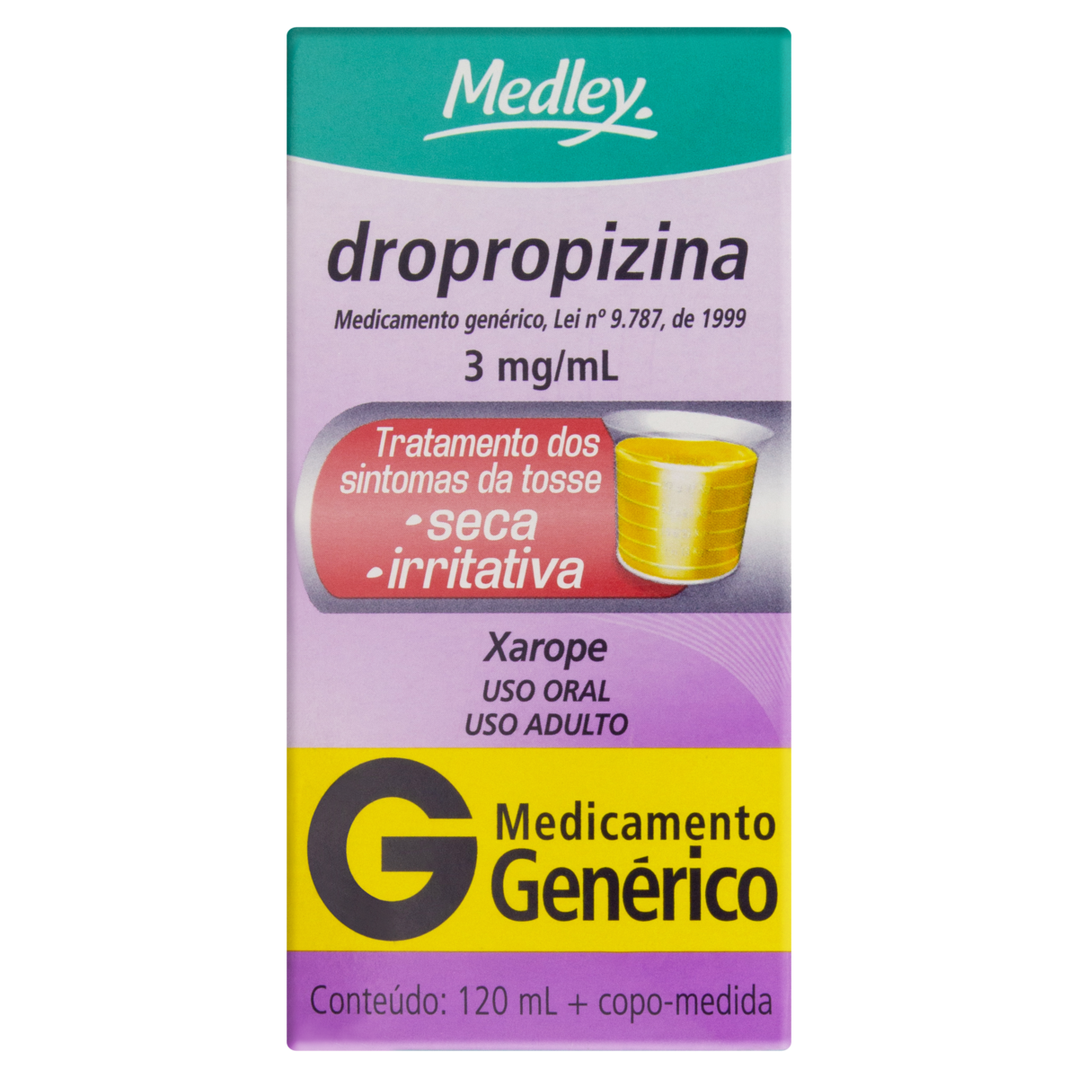 7896422506489 - XAROPE DROPROPIZINA 3MG/ML MEDLEY CAIXA 120ML + COPO MEDIDA