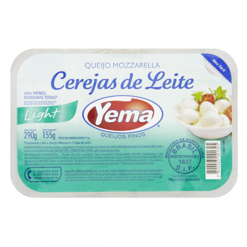 7896425001325 - QJ MUSSARELA YEMA CEREJA LEITE LIGHT 155G