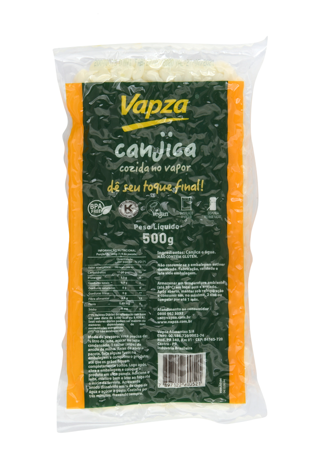 7897122600521 - CANJICA DE MILHO COZIDA NO VAPOR VAPZA PACOTE 500G
