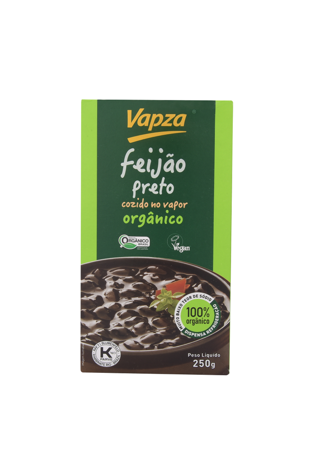 7897122601924 - FEIJÃO PRETO COZIDO NO VAPOR ORGÂNICO VAPZA CAIXA 250G