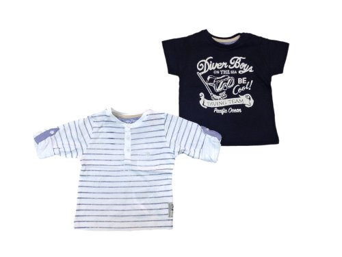 7898108649800 - MAYORAL TWO T-SHIRTS SET LONG SLEEVE AND SHORT SLEEVE BLUE SIZE 6