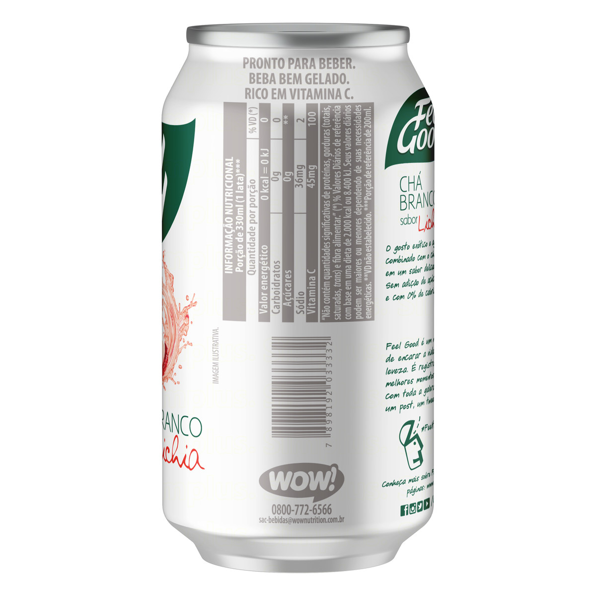 7898192033332 - CHÁ BRANCO FEEL GOOD COM LICHIA LATA 330ML