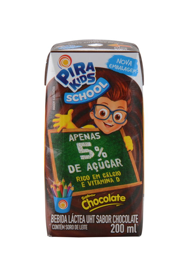 7898215153047 - BEBIDA LÁCTEA UHT CHOCOLATE PIRAKIDS SCHOOL CAIXA 200ML