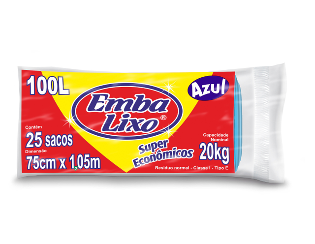 7898226510174 - SACO DE LIXO EMBALIXO SUPER ECONÔMICO AZUL 100 LITROS 25 SACOS