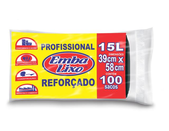 7898226513632 - SACO DE LIXO EMBALIXO PROFISSIONAL REFORÇADO 15 LITROS 100 SACOS 880G