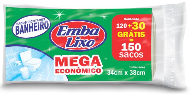 7898226514943 - SACO DE LIXO EMBALIXO MEGA ECONÔMICO PIA BANHEIRO 150 SACOS