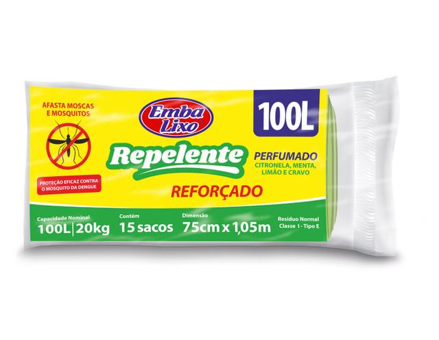 7898226516756 - SACO PARA LIXO EMBALIXO REPELENTE PERFUMADO 100 LITROS