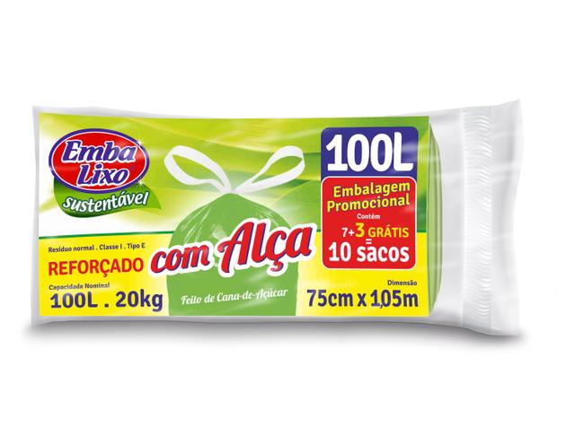 7898226516893 - SACO DE LIXO EMBALIXO COM ALÇA SUSTENTÁVEL REFORÇADO 100 LITROS