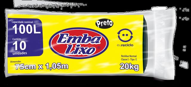 7898226518293 - SACO DE LIXO EMBALIXO EU RECICLO PRETO 100 LITROS