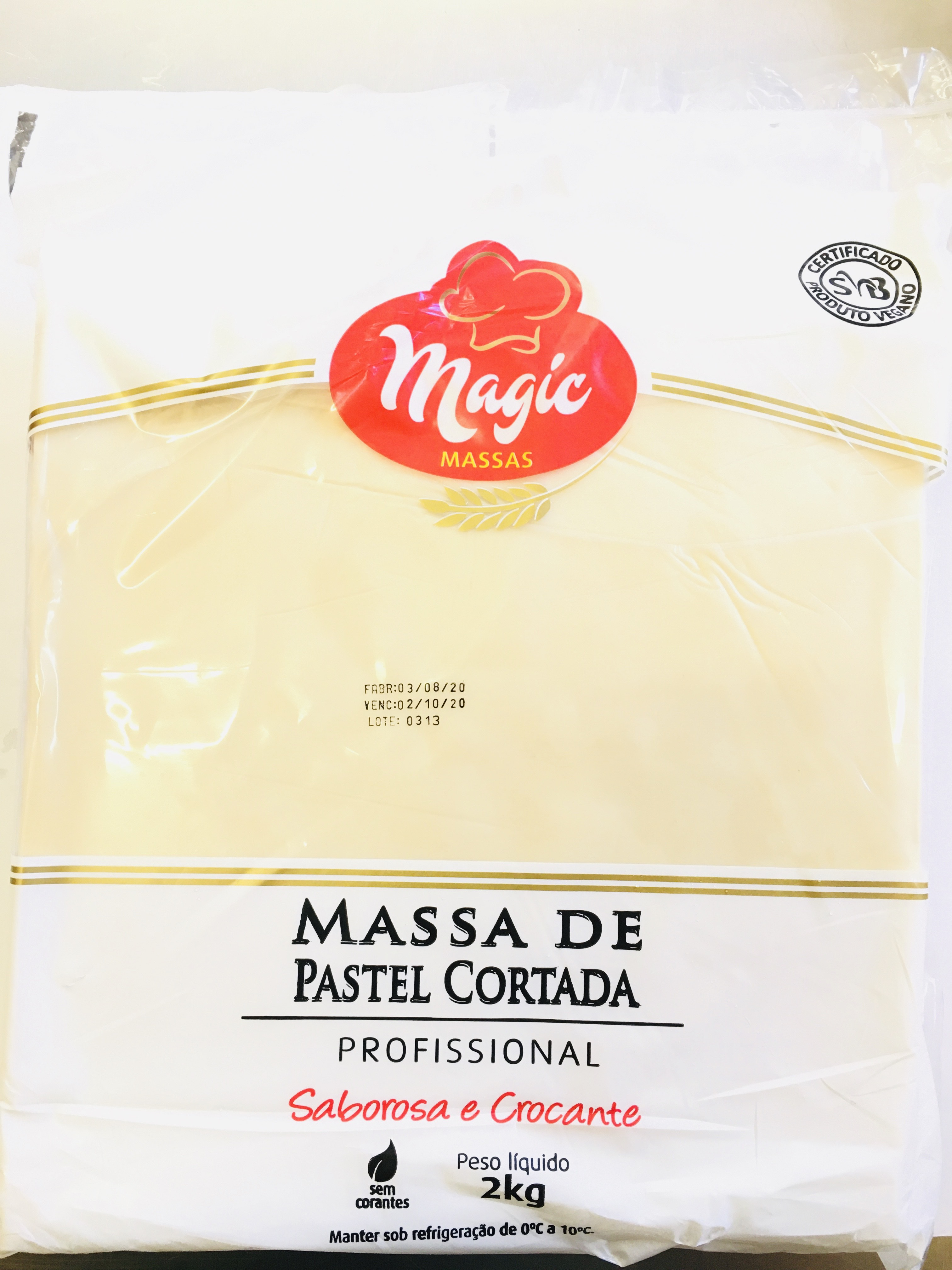 7898231610333 - MASSA P/PASTEL MAGIC MASSAS CORTADO 2KG