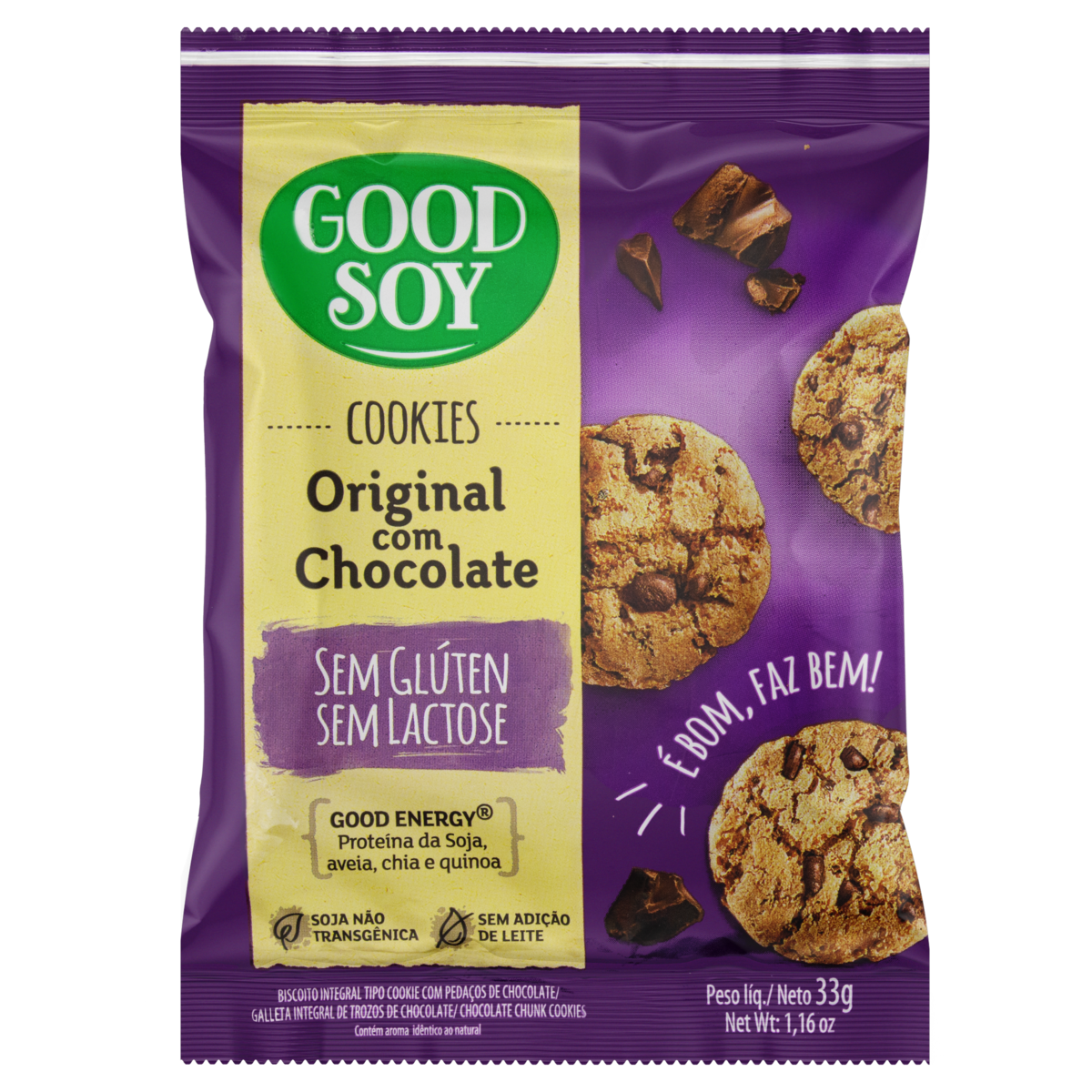 7898380410303 - BISCOITO COOKIES GOOD SOY GTAS CHOCOLATE S/GL