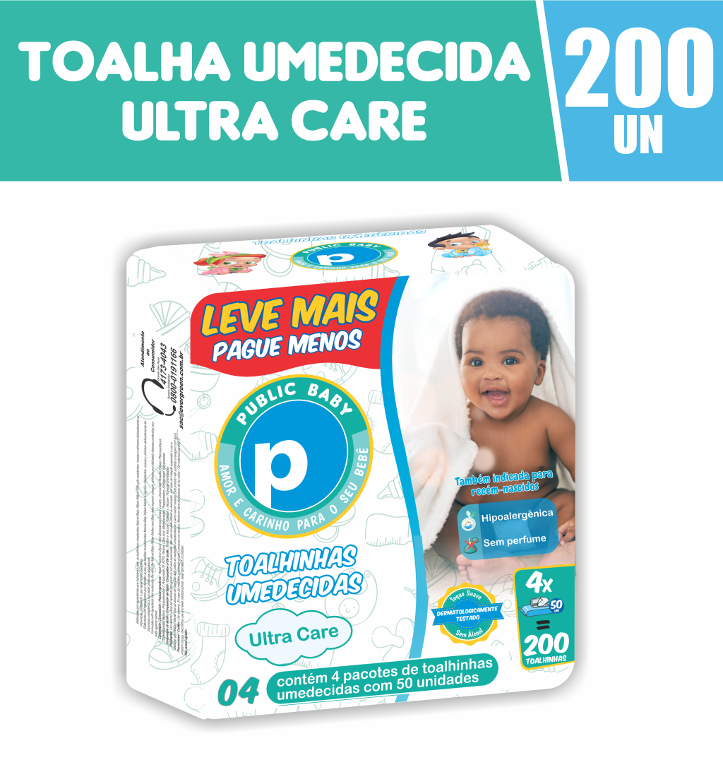 7898653350992 - TOALHA UMED PUBLIC BABY ULTRA CARE C/200 LV+ PG-
