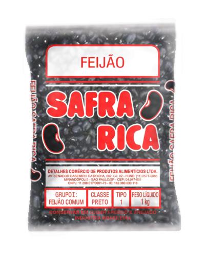 7898678530041 - FEIJÃO SAFRA RICA PRETO TIPO 2 1KG