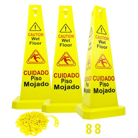 """0795787471562 - RELIABLE1ST 3 PACKS 26""""CAUTION WET FLOOR CONES SIGNS 